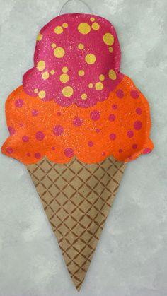 Ice Cream Cone Burlap Door Hanger by AllUniqueThings on Etsy, $25.00