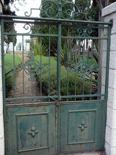 Decorative gates leading to a formal garden at Stella Maris Monastery, Haifa, Israel