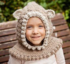 Kitten Hooded Cowl #crochet pattern for sale from Mon Petit Violon