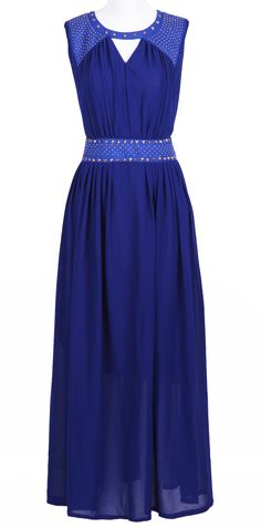 Royal Blue Sleevelss Cut Out Rivet Embellished Long Dress - Sheinside.com