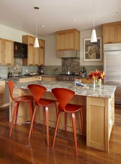 maple cabinets with granite Kitchen Transitional with bar stool ceiling lighting