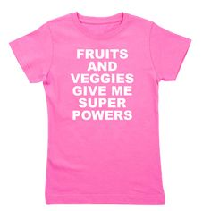 Women's dark color raspberry t-shirt with Fruits And Veggies Give Me Super Powers theme. Fruits and vegetables can improve your health and will literally change and save your life. Available in black, raspberry, aqua blue; x-small, small, medium, large, x-large for only $21.99. Go to the link to purchase the product and to see other options – http://www.cafepress.com/stfruitsveggies