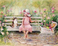"""Art for children, Choose print size """"Chatting With My Friend"""" Laurie Shanholtzer, Cat, kitten, little girl and kitty"""