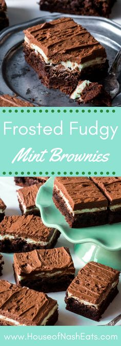 Fudgy Frosted Chocolate Mint Brownies | Posted By: DebbieNet.com