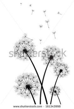 black and white vector dandelions by chrupka, via Shutterstock