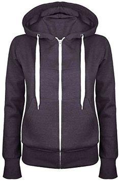 Be Jealous Femmes Uni À Capuche Sweatshirts Filles Fermeture Éclair Femmes Sweat À Capuche Manteau Pull À Capuche Grande Taille 6-24 - Charbon 4XL ( EU 50/52)