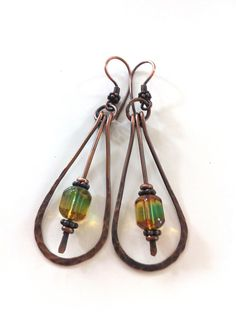 Hand-formed antiqued copper long drop earrings with Czech glass faceted beads