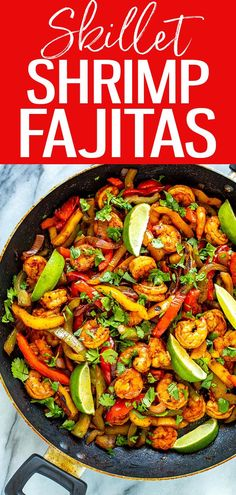 These Skillet Shrimp Fajitas come together in just one pan for minimal clean up, take 10 minutes to cook and are PACKED with flavour! #skilletrecipes #shrimpfajitas Healthy Diet Recipes, Clean Recipes, Whole Food Recipes, Healthy Eating, Cooking Recipes, Ww Recipes, Sweets Recipes, Delicious Recipes, Clean Eating
