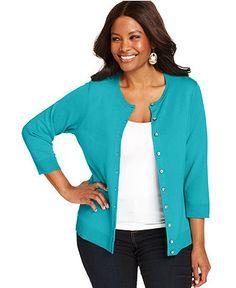 Charter Club Plus Size Cardigan, Three Quarter Sleeve Crewneck - Plus Size Sweaters - Plus Sizes - Macys
