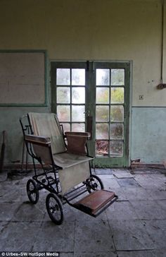 An old wheelchair left inside the abandoned St. Gerard's Hospital in Birmingham
