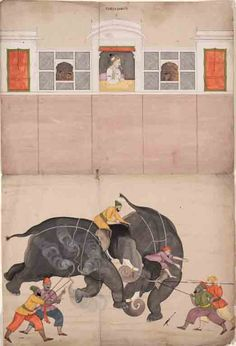 Two Elephants Fighting in a Courtyard Before the Mughal Emperor Muhammad Shah; Painted by the Pahari Painter Nainsukh from Guler. Mughal Miniature Paintings, Mughal Paintings, Indian Paintings, Islamic Paintings, Abstract Paintings, Oil Paintings, Muhammad Shah, Asia Society, Southeast Asian Arts