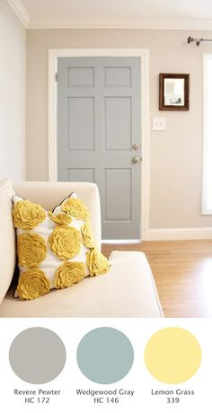 Halcyon Style: Revere Pewter - hallway color? Love the Wedgwood blue door too. Both Ben Moore colors.
