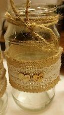 Lace hessian decorated Mason jam jars wedding centrepiece table decorations X 9
