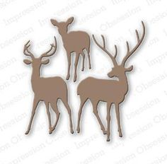 Impression Obsession Dies, Deer Trio. This is a US-made steel die compatible with most table-top die cutting machines.  Approximate die size: The group of three is approximately 3 x 3.
