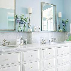 Blue Bathroom Design, Cottage, bathroom, BHG