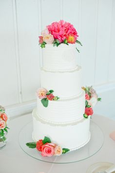 wedding #cake all dressed up in pink petals by http://www.thedunesclub.org,  Photography: Leila Brewster - leilabrewsterphotographyblog.com  Read More: http://stylemepretty.com/2013/10/08/narragansett-rhode-island-wedding-from-leila-brewster/