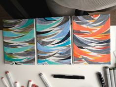 Various lines and colors in 16x22cm