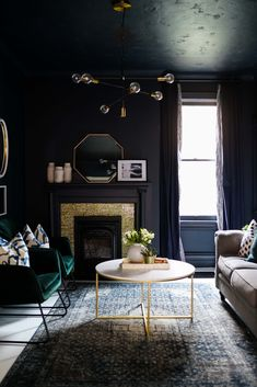 Dark Painted Walls, Ceiling and Trim.  Moody Den For The One Room Challenge Navy Blue Rooms, Navy Blue Walls, Black Rooms, Dark Painted Walls, Dark Walls, Eclectic Living Room, Living Room Interior, Home Living Room, Living Room Decor