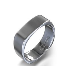 men's square band ring   Square Contoured Wedding Band in 14k White Gold Starting from AU$539