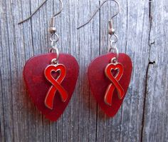 Red Heart Ribbon Charm Guitar Pick Earrings - Pick Your Color by ItsYourPick on Etsy