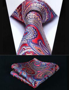 "Party Wedding Classic Pocket Square Tie TP926R8S Red Blue Paisley 3.4"" Silk Woven Men Tie Necktie Handkerchief Set"