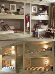 Bunk Beds For Boys Room, Bunk Bed Rooms, Loft Bunk Beds, Bunk Beds Built In, Modern Bunk Beds, Bunk Beds With Stairs, Kid Beds, Bunk Bed Wall, Bedroom Kids