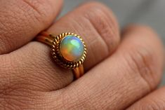 22k Gold Opal ring  Opal Ring  Engagement ring  by Studio1980, $1,245.00