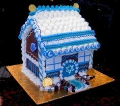 Hanukkah Gingerbread House from Stella Pastry. {If you are a Jew celebrating Hanukkah, this is so perfect. Jewish Hanukkah, Hanukkah Crafts, Jewish Crafts, Hanukkah Food, Hanukkah Decorations, Christmas Hanukkah, Hannukah, Happy Hanukkah, Christmas Gingerbread