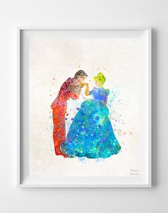 Cinderella Print Prince Charming Watercolor Art by InkistPrints