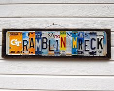 RAMBLIN WRECK with logo - Georgia Tech Yellowjackets, Ramblin Wreck license plate sign / graduation gift / Father's Day Baby Boy Rooms, Baby Boys, License Plate Art, Sports Signs, Wire Hangers, Graduation Gifts, Different Colors, Recycling, Lettering