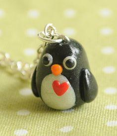 Miniature pingouin Kawaii bijoux de collier en argile polymère