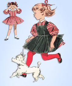 1960s Vintage Butterick Sewing Pattern 9490 Uncut Toddler Girls Dress & Jumper 4 #Butterick #DressandPinaforePattern