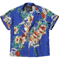 Hawaii print shirt ($40) ❤ liked on Polyvore featuring tops, shirts, jackets, button up, button down crop top, cropped tops, button up shirts, silk crop top and blue top