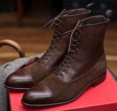 Carmina Balmoral Boot in box calf and suede