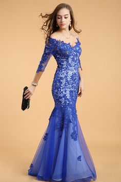2014 Mermaid 3/4 Sleeves V Neck Sweep Train Prom Dresses With Lace And Applique #61302 USD 183.99 TSPPZ3EC246 - StylishPromDress.com