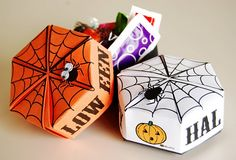 For Halloween, printable spider origami boxes for treats or tricks