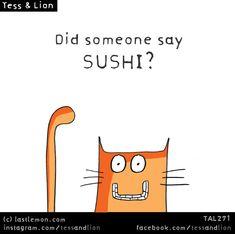 Tess and Lion Crazy Cat Lady, Crazy Cats, I Can Haz, Last Lemon, Funny Doodles, Cat Art, Funny Cats, Sushi, Lion