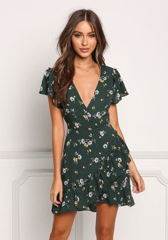 Hunter Green Floral Crepe Layered Flared Dress - Clothes - New Casual Day Dresses, Cute Dresses, Beautiful Dresses, Dress Outfits, Short Dresses, Cute Outfits, Summer Dresses, Dress Clothes, Prom Dresses