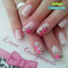 Unhas delicada com fores. Cute Nails, Pretty Nails, My Nails, Perfect Nails, Gorgeous Nails, Spring Nails, Summer Nails, Flower Nails, Creative Nails