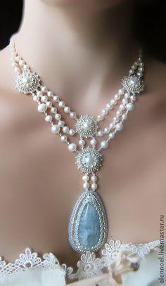 "Necklace, handmade beads. Fair Masters - handmade necklace ""Tenderness"" with aquamarine. Handmade."