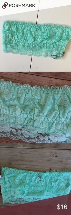 "Electric Pink Seafoam Green Lace Bandeau Bra Brand: Electric Pink  Condition: New with attached tags  MSRP: $15.99  RN:113025  Material: 95% rayon, 5% spandex. Lace 92% nylon, 8% spandex  Measurements: 14"" wide at top, 12"" wide at bottom hem.   Size: Junior's XL  New with tags. Electric Pink Intimates & Sleepwear Bandeaus"