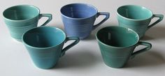 5 Blue & Green Vintage Kitchen Bliss! 5 Midcentury Ceramic Cups  Harlequin/Another Company Wonderful Condition