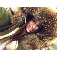 Army green coat w fur