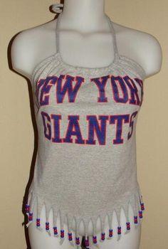 I need to do this w/ a Texans shirt!!! Womens New York Giants NFL Football Shirt Halter Top DIY | eBay