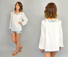 vintage 1970s EMBROIDERED bohemian gypsy HIPPIE floral peasant long sleeve BLOUSE top, one size fits most