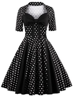 SHARE & Get it FREE | Polka Dot Knee Length Vintage DressFor Fashion Lovers only:80,000+ Items • New Arrivals Daily • Affordable Casual to Chic for Every Occasion Join Sammydress: Get YOUR $50 NOW!