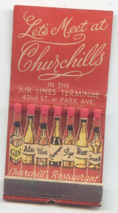 Feature Matchbook Churchills Restaurant | eBay