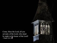 Come, bless the Lord, all you servants of the Lord, who stand by night in the house of the Lord! ~ Psalm 134:1
