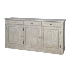 Exceptional Pacific Home Mango Wood 3 Door Sideboard, Vintage Sand