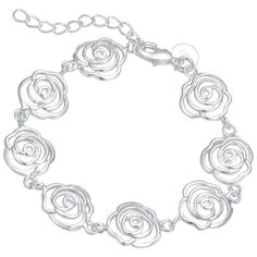 New jewelry rose flower bracelet women,  silver 925 bracelet for women gift AB165